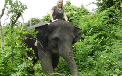 Riding elephant bare back