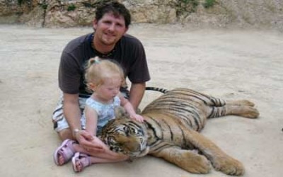 Children with tiger