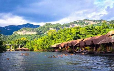 Sai yok resort swim river Kwai