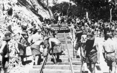 Hellfire pass laying track 1943