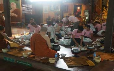 Breakfast With monks and Tiger