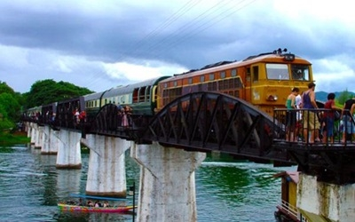 A train on the Bridge over the River Kwai